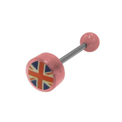 (BodyJewelryOnline British Flag Logo Barbell Tongue Ring - Pink Acrylic Beads)