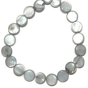 Steven_store MP2061 Silvery Gray 8mm Flat Puff Round Coin Mother of Pearl Shell Beads 15