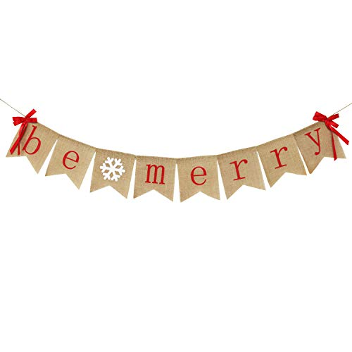 Be Merry Burlap Banner with Two Bow Ribbons | Rustic Christmas Banner Bunting | Holiday Decorations | Christmas Party Decorations | Perfect for Mantel Fireplace Hanging Decor ()