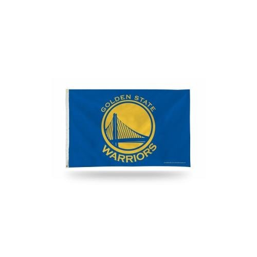 Rico Industries NBA Golden State Warriors 3-Foot by 5-Foot Single Sided Banner Flag with Grommets, Blue ()