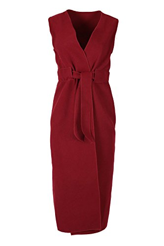 Be Jealous Womens Ladies Fleece Knitted Open Front Sleeveless Waterfall Belted ()