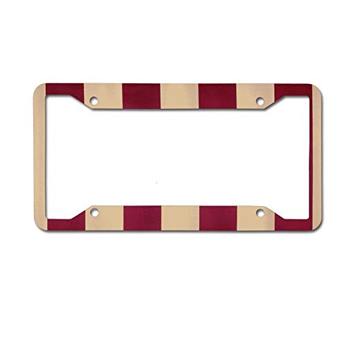 PoppyAnthony Cool Ruby and Beige Stripes Licence Plate Frame Aluminum License Plate Cover for US Canada 4 Hole and Screw