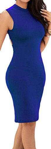 Cromoncent Femmes Manches Dos Nu Croix Creuse Sexy Robe Moulante Midi Bleu Foncé