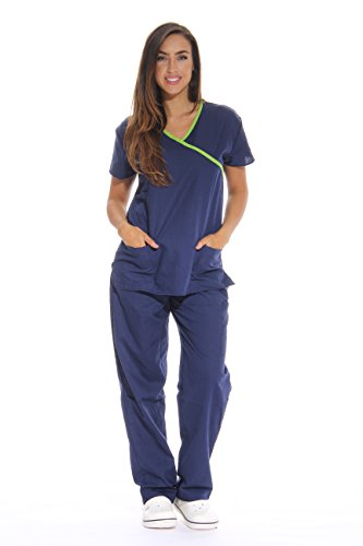 Just Love Women's Scrub Sets/5 Pocket Medical Scrubs Uniforms (Mock Wrap), Navy With Lime Trim, -