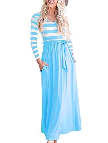 NICIAS Women Striped Elastic Long Sleeve Tunic Vintage Casual Maxi Dress with Pockets Waistband Sky Blue Medium
