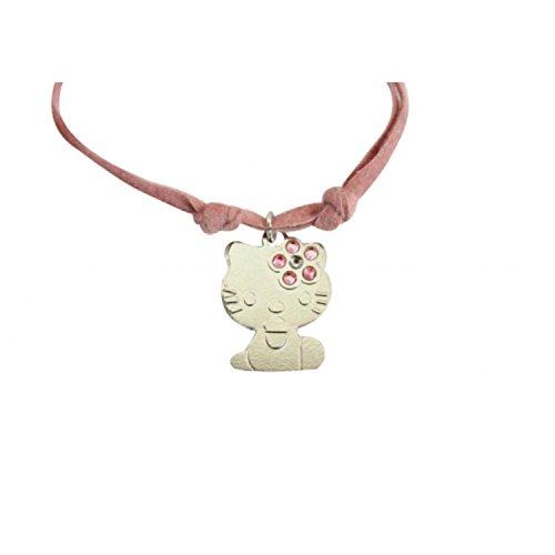 Hello Kitty - K4N019PZ - Collier Fille - Argent 925/1000/Acier - Rose clair