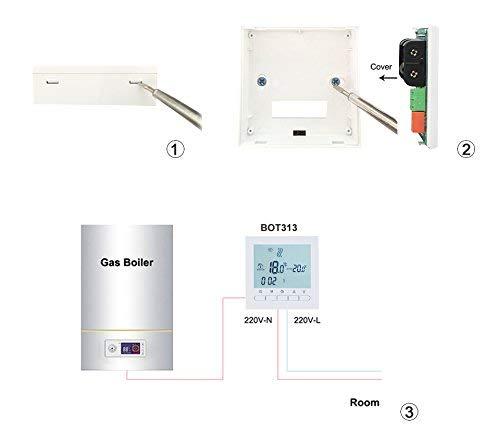 AVStar/Thermostat programmable  intelligent pour chauffage de chaudi/ères /à gaz/ //écran LCD pour facilit/é de contr/ôle et programmation bo/îtier et /éclairage blanc /él/égant/&nbs