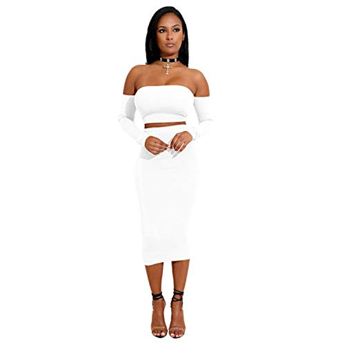New Style Autumn Fashion Women Casual Sexy Robe Long Sleeve Off Shoulder Backless Black White Dresses Pencil Bodycon Dress Vestidos Clearance ()