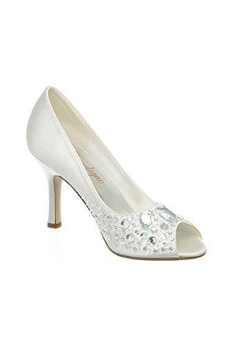 Pour Blanc Chaussure Cérémonie Talons Avec Femme À Strass FFqXT