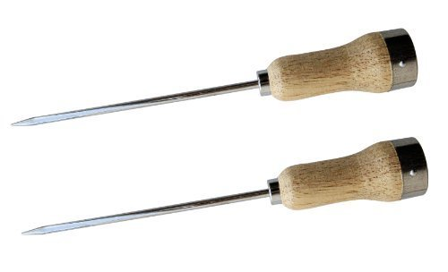 Set of 2 Plated Steel Ice Picks with Wood Handle, 5mm Thick and 6