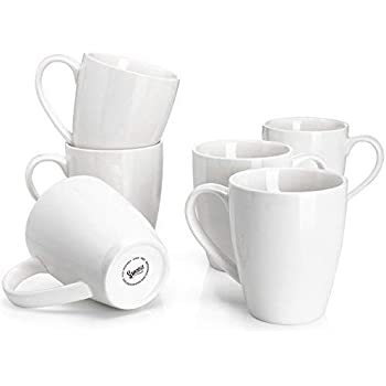 Sweese 601.001 Porcelain Mugs - 16 Ounce for Coffee, Tea, Cocoa, Set of 6, White