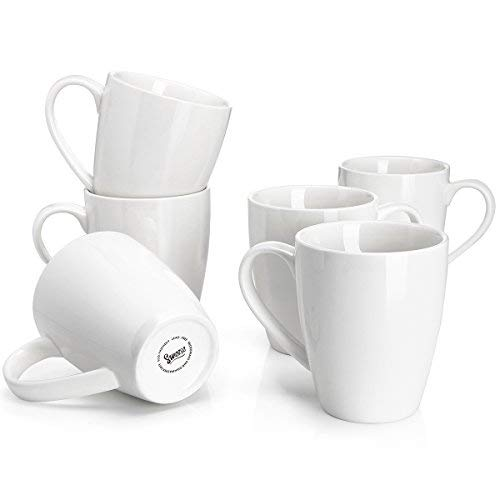 (Sweese 6201 Porcelain Mugs - 16 Ounce for Coffee, Tea, Cocoa, Set of 6, White)