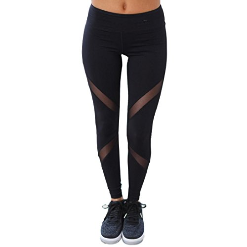 Price comparison product image High Waist Skinny Leggings, Clearance! AgrinTol Women Sexy Patchwork Mesh Push Up Yoga Pants (XL,  Black)