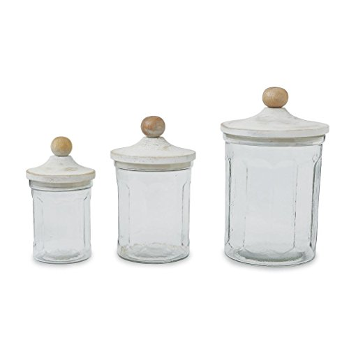 Mud Pie Glass Canister Set of 3 Kitchenware