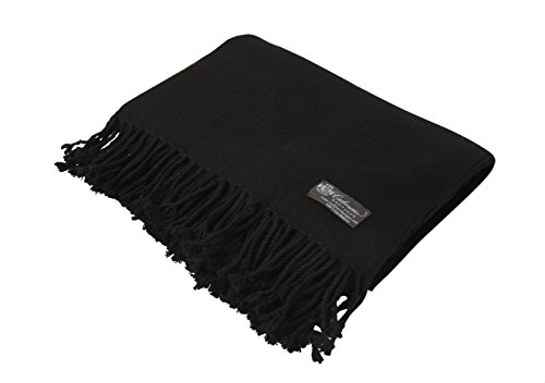 Pure Cashmere Throw in 4 Ply (Black, 60