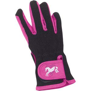 Ovation Kids Hearts & Horses Riding Gloves - Size:A (8-10) Color:Pink/Black (Apparel Horse Crazy Riding)