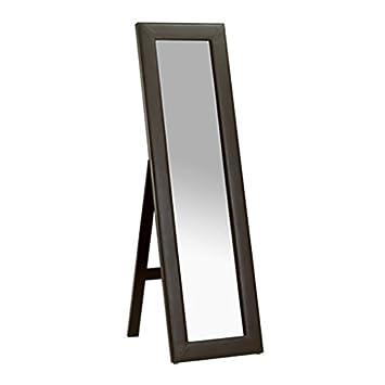 Vienna Miroir psyché sur pied-Longueur en similicuir Marron ...
