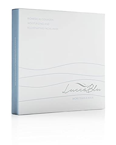 Medical Grade Collagen Booster Face Mask by LuccaBlu, 5-Pack   Peel Off Dermal Sheet with Intensive Hydrating, Rejuvenating & Anti Aging Serum   Spa Style Facial Treatment Pack for Men & - Protein Booster Skin Serum