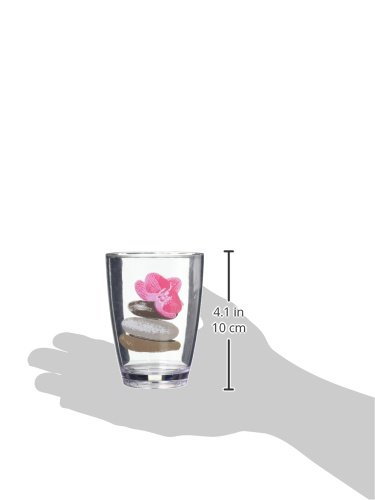 EVIDECO 610029 Clear Acrylic Printed Bathroom Tumbler Spa, 2.95'' L x 4.13'' H, Pink by EVIDECO (Image #2)