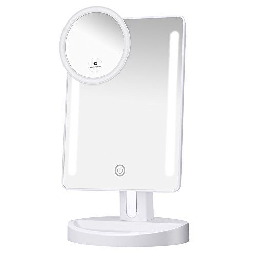 KEDSUM LED Lighted Makeup Mirror, Travel Vanity Mirror with Lights, Lighted Tabletop Mirror with Detachable 5X Magnification Spot Mirror, 180°Adjustable Touch Screen,Batteries or USB Charging
