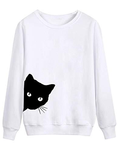Rampmu Women Casual Long Sleeve Animal Cat Print Pullover Sweatshirt Tops Fashion Hoodies