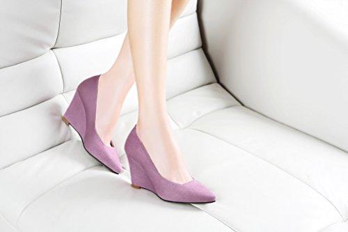 Laikajindun Donna Low Top In Nabuk Slip On Zeppa Pumps Shoes Viola