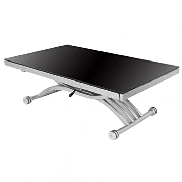 Rdm Concept Table Basse Relevable A Allonges Zen Verre Noir