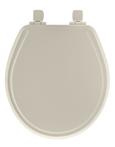 Mayfair Molded Wood Toilet Seat  featuring Slow-Close, Easy Clean & Change Hinges and STA-TITE Seat Fastening System, Round, Biscuit/Linen, 48SLOWA 346