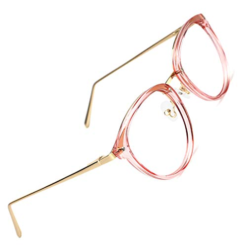 TIJN Vintage Optical Eyewear Non-prescription Eyeglasses Frame with Clear Lenses (Pink, 52-18-140)