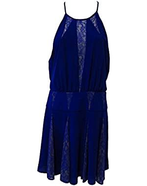 BCBGMAXAZRIA Teena Lace Inset A-Line Dress Royal Blue Size 8