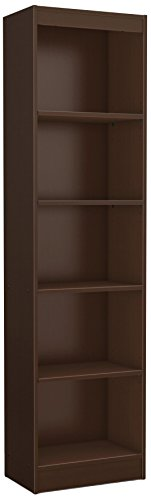 South Shore Narrow 5-Shelf Storage Bookcase, Chocolate