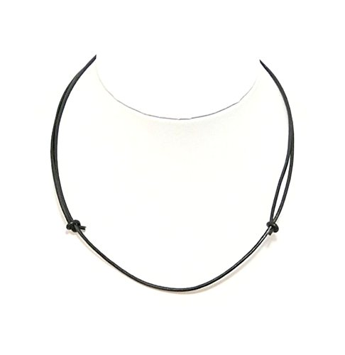 Mens Black Leather Cord Necklace Leather Choker Leather Necklace