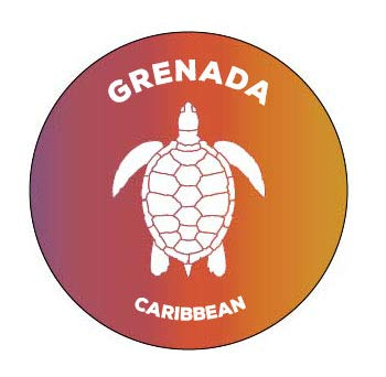 R and R Imports Grenada Caribbean 4 Inch Round Decal Sticker Turtle Design (Grenada Imports)