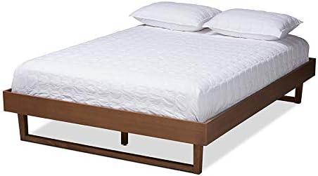 Baxton Studio Liliya Mid-Century Modern Walnut Brown Finished Wood King Size Platform Bed Frame