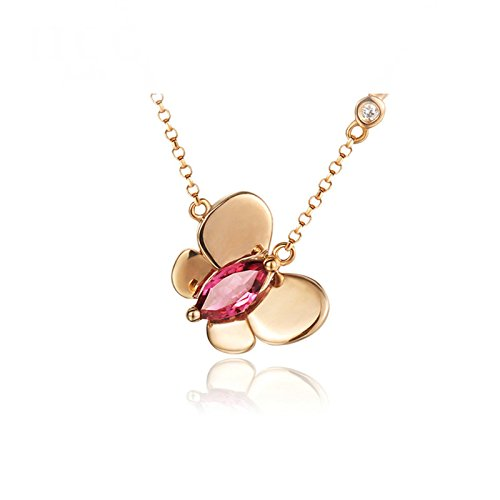 Beydodo Women Necklace 18k Real Gold Marquise Cut 18in Tourmaline Butterfly Necklace for Valentine by Beydodo