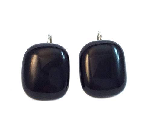 - Handmade Fused Glass Rectangular Solid Black Earrings by Gerty