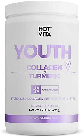 Hot Vita Youth Collagen and Turmeric Powder Peptides - Hydrolyzed, Gluten Free Antioxidant Supplement with Amino Acids for Women's Hair Care, Skin, Nails and Anti-Aging (1 Bottle)