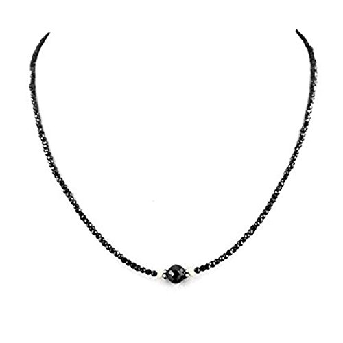 Barishh 40 Cts. Black Diamond Necklace-3 mm.Certified Best Quality Gold Clasp Earth Mined AAA by Barishh