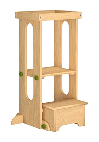 (Little Partners Explore n Store Learning Tower Kids Adjustable Height Kitchen Step Stool for Toddlers or Any Little Helper - Natural)