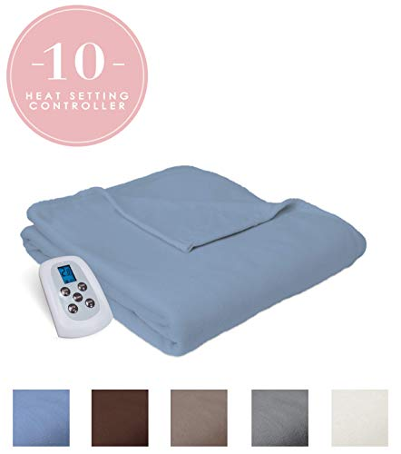 Serta | | Brushed Fleece Heated Electric Throw Blanket, Full, Slate Blue