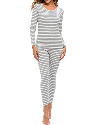 CzDolay Thermal Underwear Set Soft Insulated Underwear Pjs Sets Two Pieces Long Top & Leggings (Gray Striped, Small)