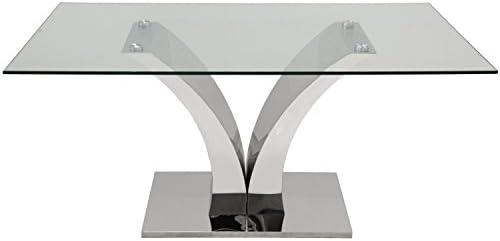 DONREGALOWEB - Mesa Comedor Cristal 12 mm y Base de Acero Inoxidable Forma V: Amazon.es: Juguetes y juegos
