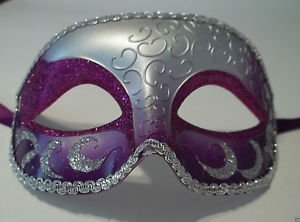 Cheap Masquerade Masks For Men (Purple Silver Venetian Men Elegant Masquerade Mardi Gras Halloween Costume Mask)