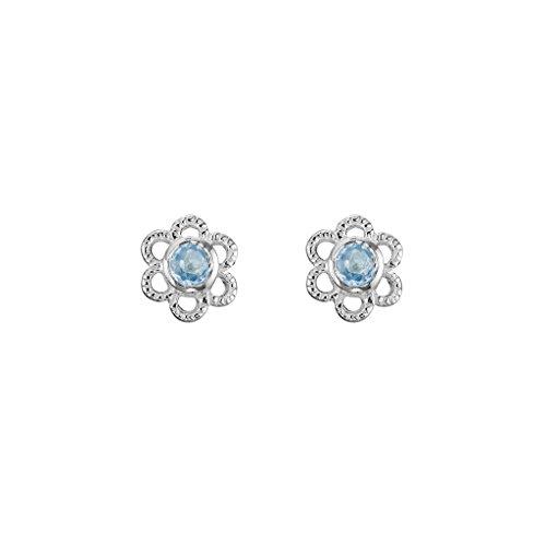 925 Sterling Silver Children's Flower Stud Earrings with 2.5mm Aquamarine March - Earrings Bezel Aquamarine Stud