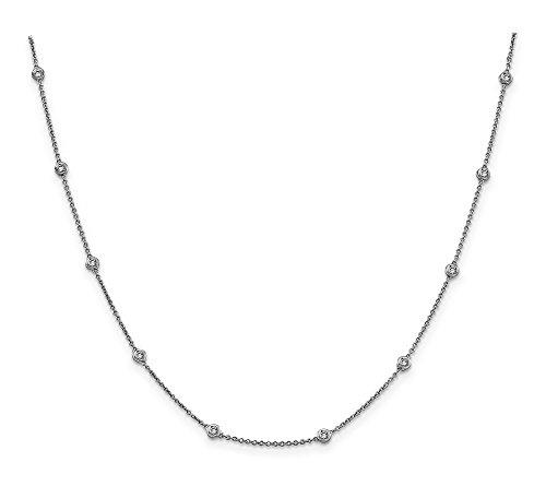 14k White Gold Diamond Rolo Anklet - 9 Inch