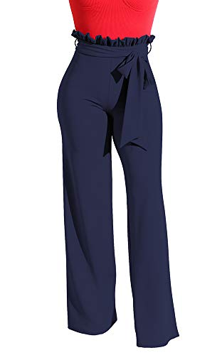 LKOUS Womens Comfy Stretchy Bell Bottom Work Flare Pants Navy ()