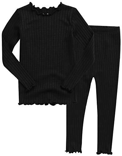 VAENAIT BABY Kids Girls Long Sleeve Modal Sleepwear Pajamas 2pcs Set Shirring Black M