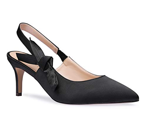 Slingback Satin Pumps Pointy Toe Kitten Heels Sexy Elegant Stiletto Mid Heel Wedding Party Shoes Black Pump 10 M US ()