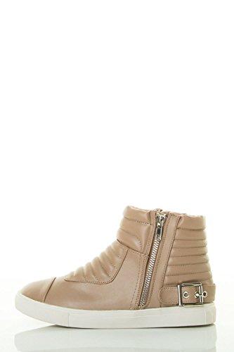 Voor Altijd Dames Kussen Gesp Detail Enkel Zip-up Sneaker Taupe