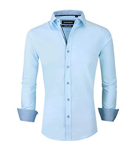 UniFashion Mens Dress Shirts Slim Fit Wrinkle Free Long Sleeve Button Down Shirt L Light Blue ()